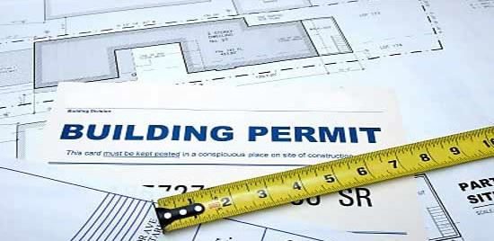 building permit w measuring tape