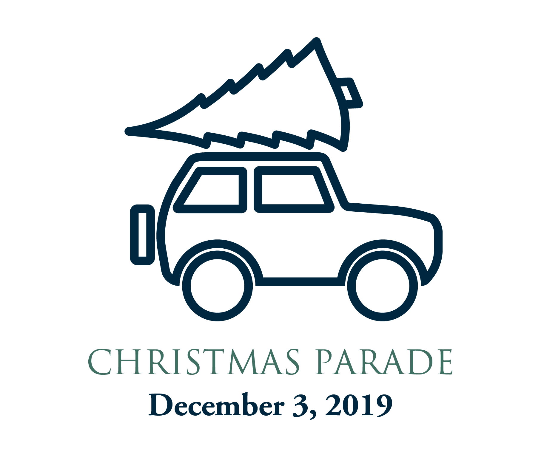 Christmas Parade graphic - car with Christmas tree on top