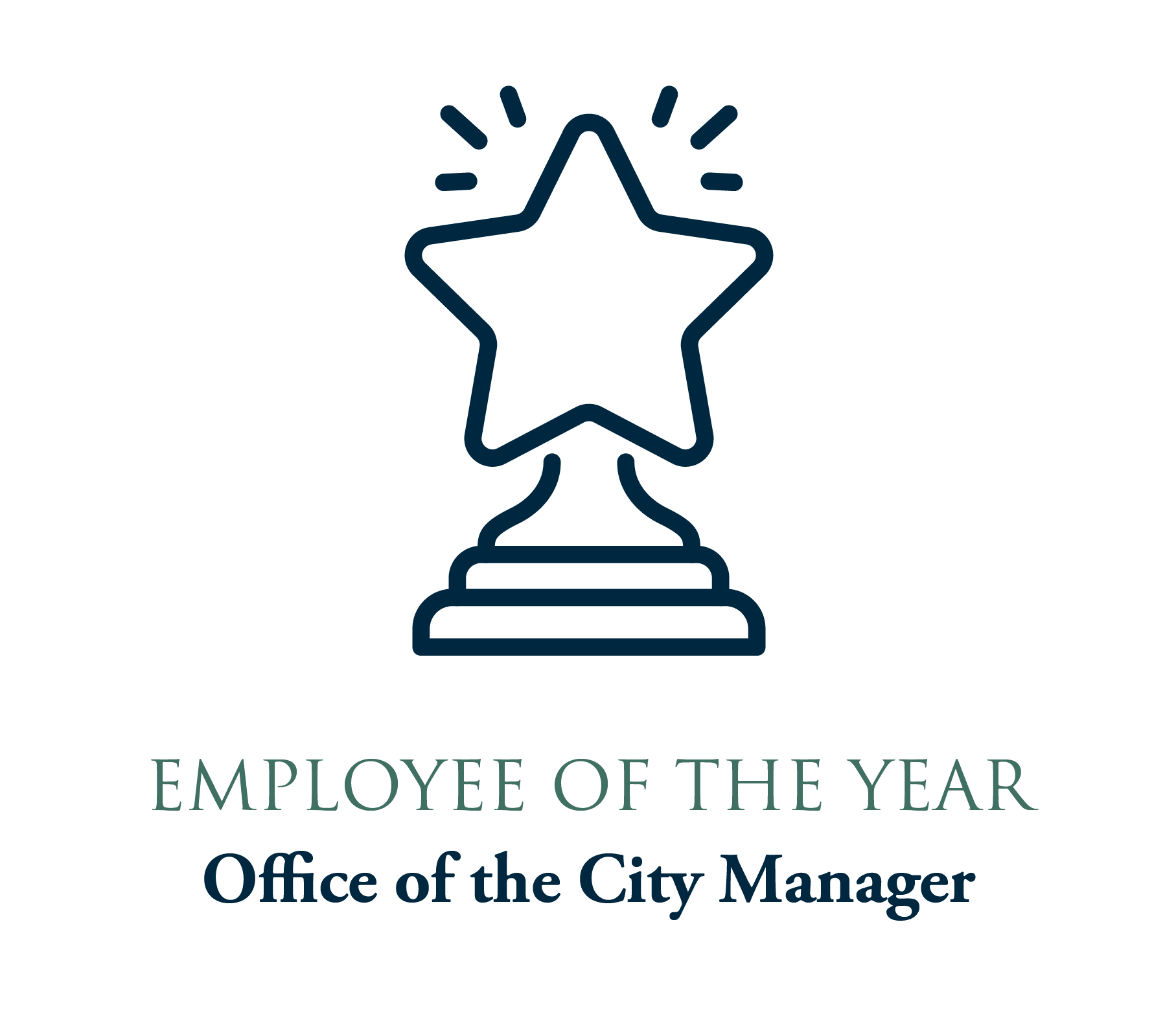 Employee of the Year graphic with line drawing trophy