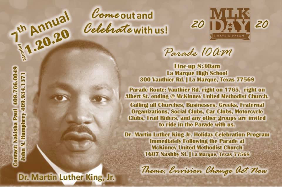 MLK Day graphics with parade route and photo of Dr. King