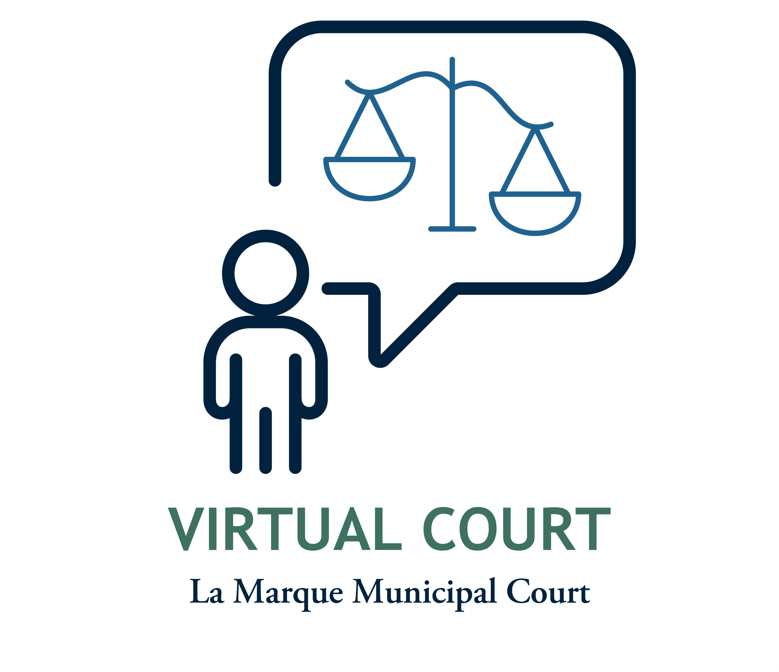 Virtual Court graphic with line drawing person looking at text bubble